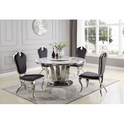 Everly Quinn Ty 6 Piece Dining Set Chair Color Gray Round
