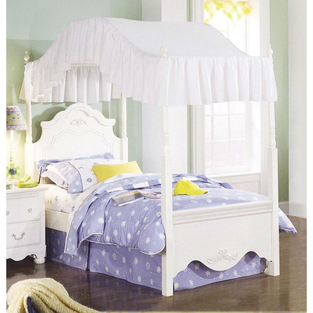 Twin Size Victorian Style White Wood Canopy Bed Fabric Not