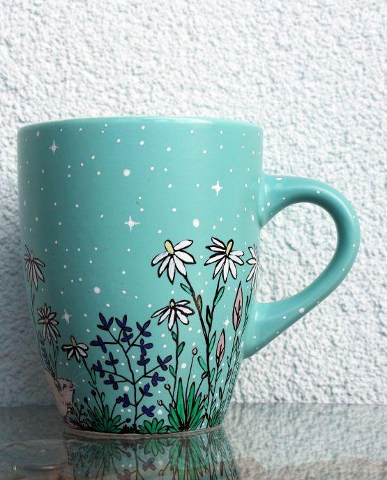 Personalized Turquoise Mug With Small Pets Shewolfka Painted Coffee Mugs Hand Painted Mugs Mugs