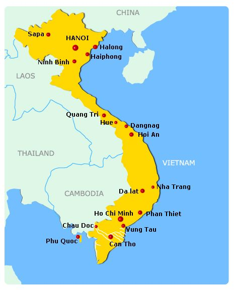 Nha Trang Vietnam Map.Map South East Asia Hanoi Halong Sapa Danang Hoi An Nha Trang Ho