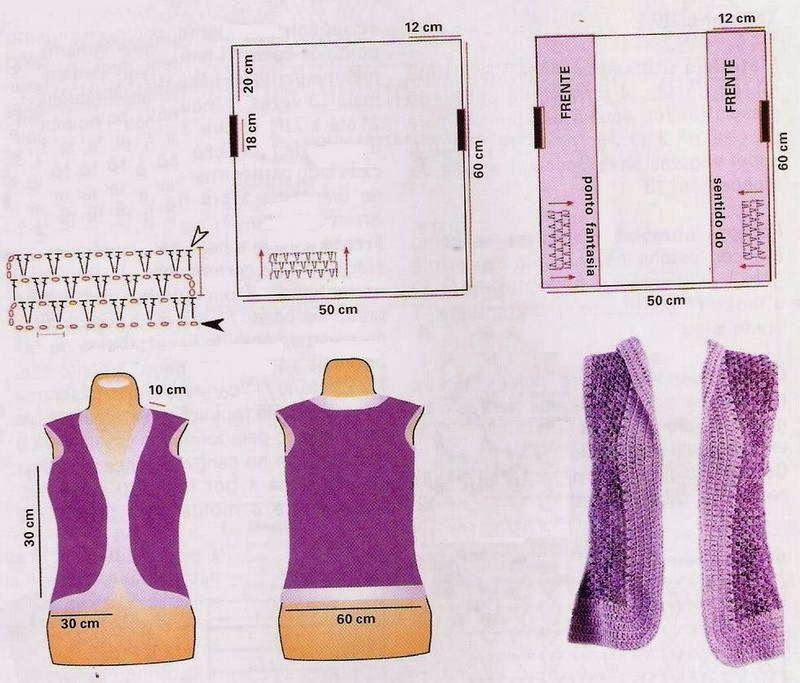 Chaleco Rectangular-Recto Crochet - Patrones Crochet | kabáty, vesty ...