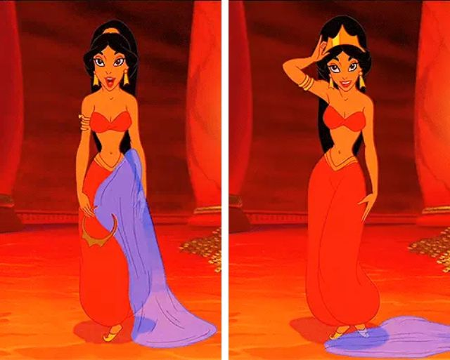 princess jasmine red outfit scene