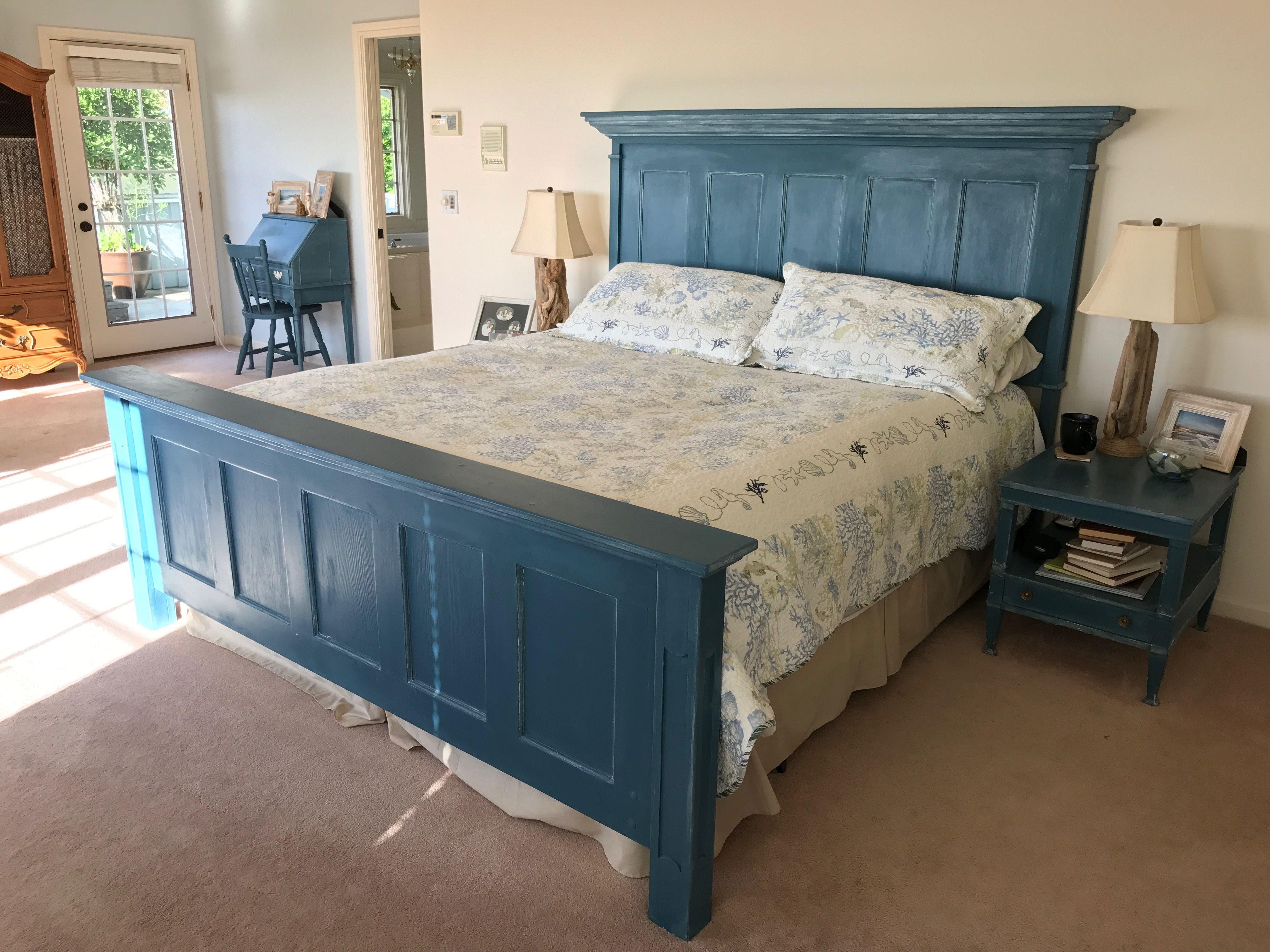 Pinterest Success I Made A Headboard And Footboard Using Recycled Five Panel Old Doors Chalk Pa Headboard From Old Door Headboard And Footboard Bedroom Diy
