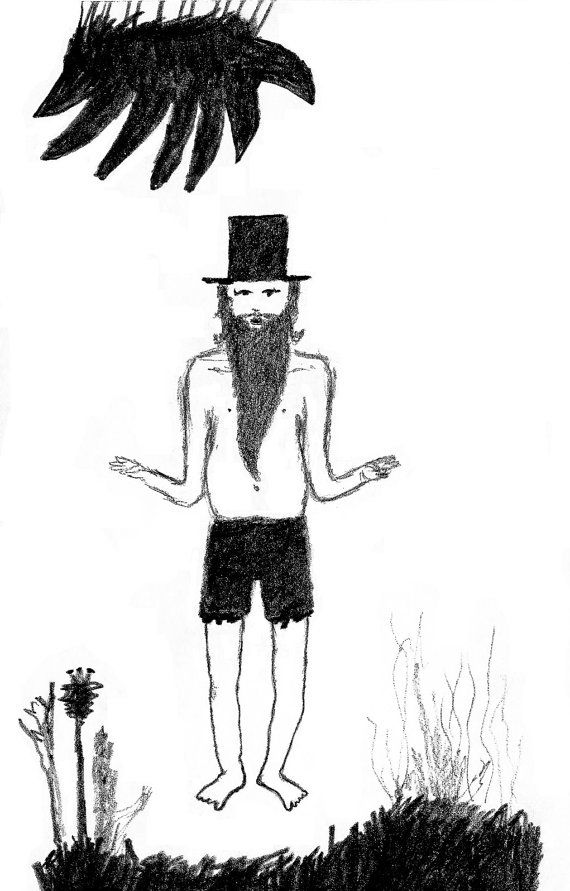 the hermit - print or sticker from my original drawing.