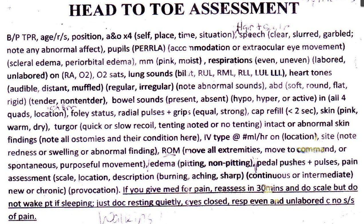 Head To Toe Assessment Documentation HttpAllnursesCom