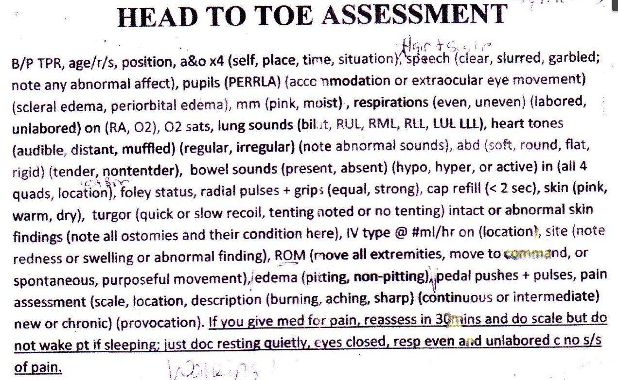 Head To Toe Assessment Documentation Allnurses