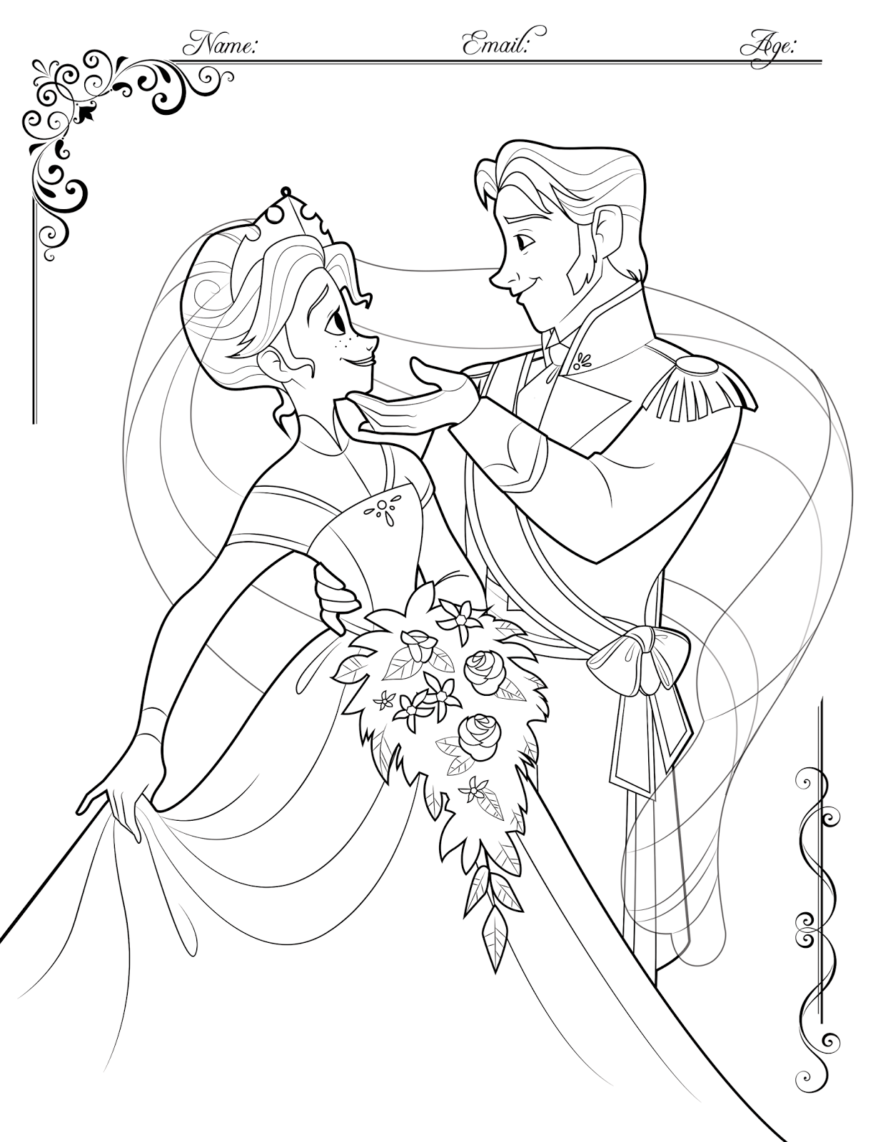 Coloring Contest On My Blog Hans And Annas Wedding Day Oh Come They Had That Adorable Song Together Frozen