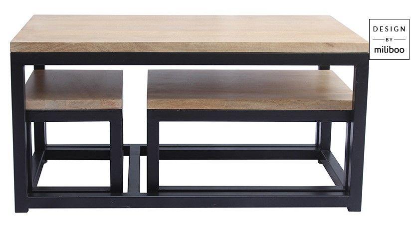 Tables Gigognes Factory En Manguier Et Metal Noir Pas Cher Table Basse Miliboo Iziva Com En 2020 Tables Gigognes Table Basse Miliboo