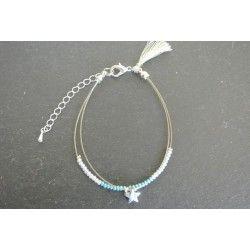 Bracelet double étoile et rocaille argenté