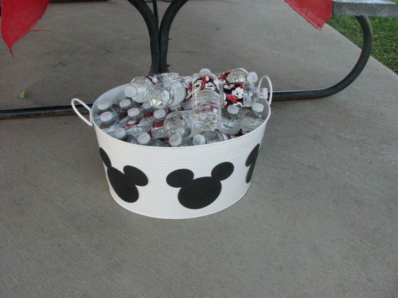 Mickey Mouse duct taped water bottles