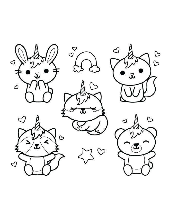 Animaux Licorne Kawaii Stamp Gratuit Coloriage Kawaii Dessin