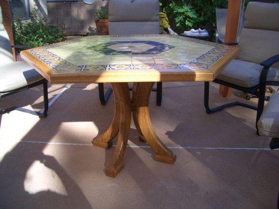 Hexagon Patio Table Ceramic Furniture Mosaic By Gghandmadecreation