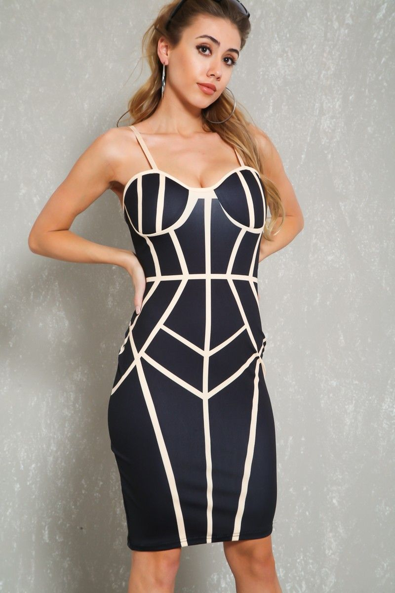 Sexy black graphic push up bodycon party dress partydressesclubwear