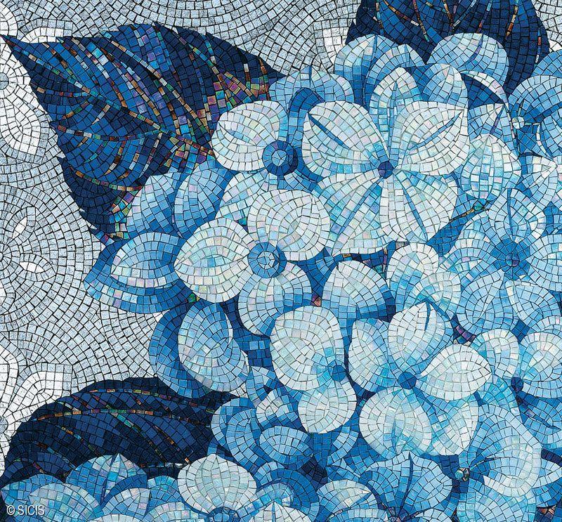 Blue Floral Mosaic Tile Sicis Mosaic Arts & Tile