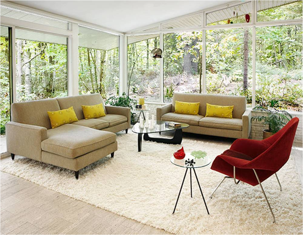 Windows Mid Century Modern Living Room Design Ideas