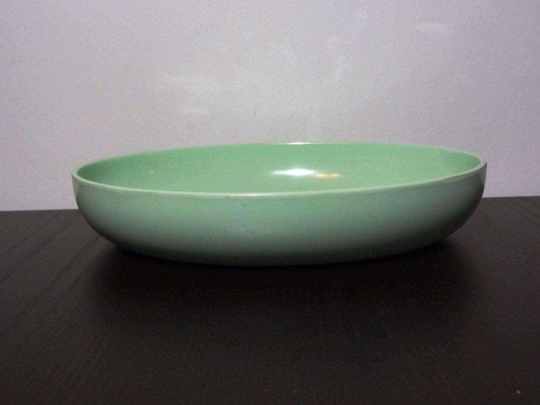 Vintage Retro Mint Green Oval Shaped Prolon Cadence Melamine Or Melmac Serving Bowl Retro Vintage Vintage Shops Green Oval