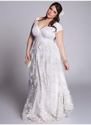 f2dc3889a528 Lace Plus Size White Ivory Wedding Dress Bridal Gowns Custom 18 20 22 24 26  28 +