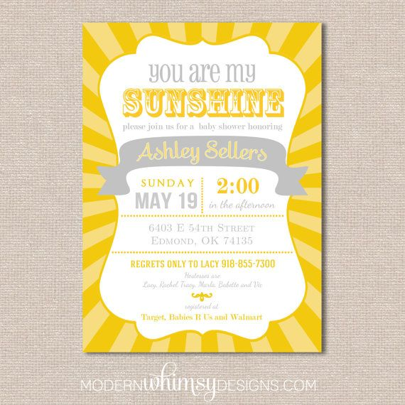 Perfect You Are My Sunshine Baby Shower, Gender Reveal, Invitation, Birthday,  Printed Cards
