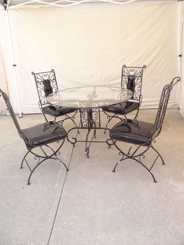 Vintage Metal Scroll Iron Patio Porch Out Door Regency Dining Set Table 4  Chairs