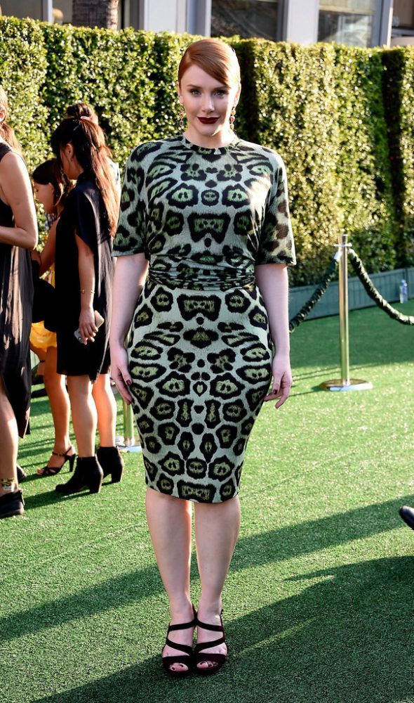 Splurge  Bryce Dallas Howard s Pete s Dragon Hollywood Premiere Givenchy  Green Leopard Print Tee and Pencil Skirt ffc1dfe83