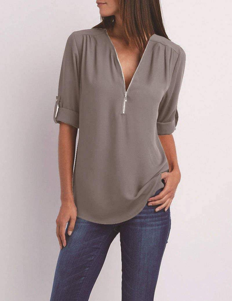 b29de870dc Chiffon Plus Size S-5XL Womens Casual V-neck Zipper Tunic Tops Summer 2018  Women s Fashion Blouses Women Clothes Ropa Mujer