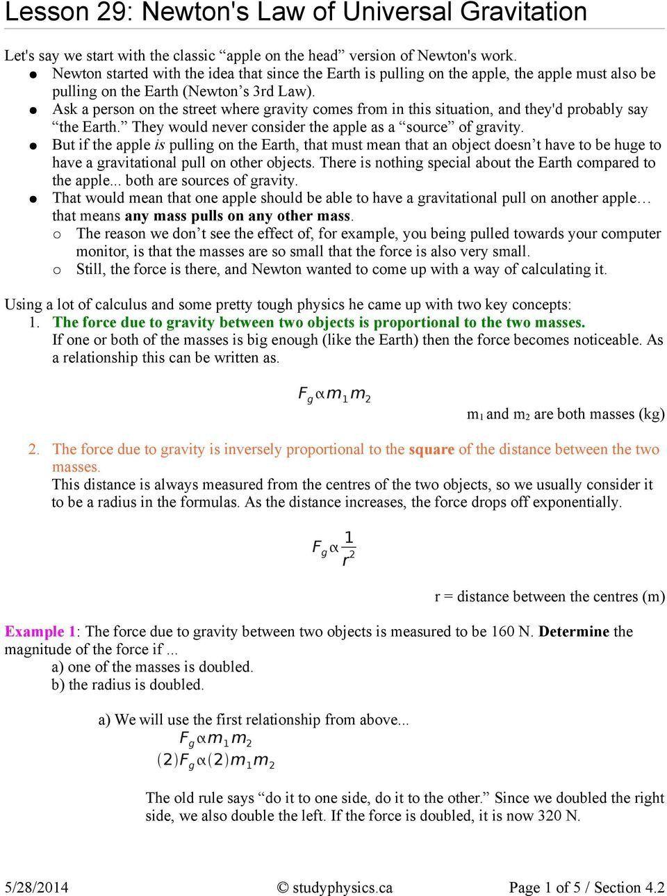 Universal Gravitation Worksheet Answers Lesson 29 Newton S Law Of Universal Gravitation Pdf Free In 2020 Worksheet Template Physics Answers Worksheets