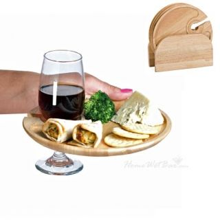 Wooden Appetizer Plates with wine holder  sc 1 st  Pinterest & Party Pal Bamboo Plate (Engravable) | Appetizer plates Wine and ...