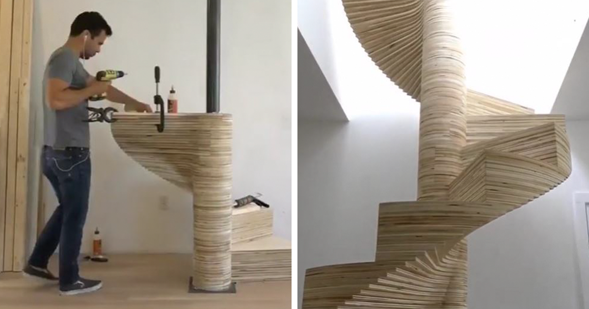 Diy Spiral Staircase Made Out Of Plywood Diy Staircase Diy Stairs Spiral Staircase