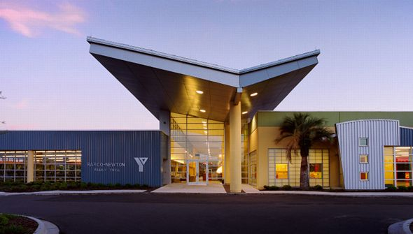 Barco Newton Family Ymca Roof Architecture Butterfly Roof Roof Design