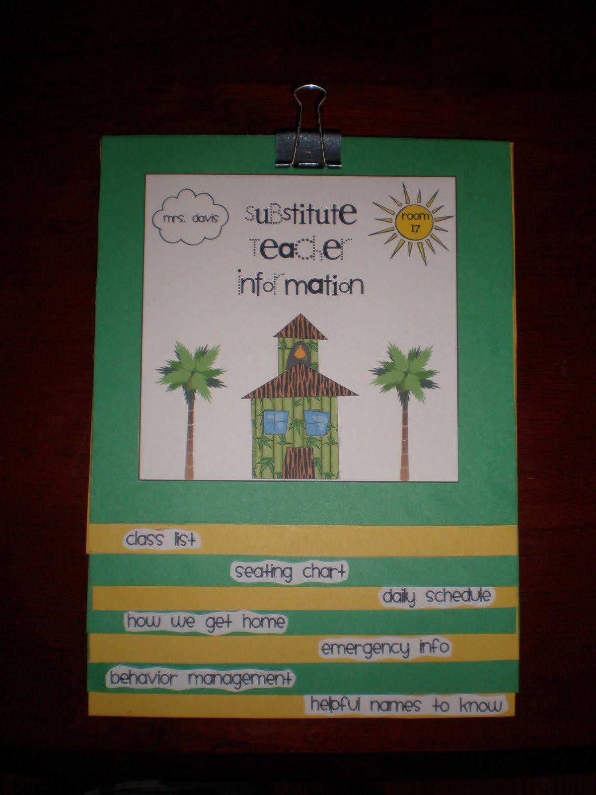 "Great idea for subs -- a Substitute Teacher Flipbook instead of ""red folder"""