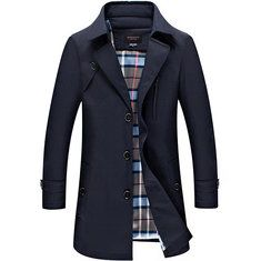 Business Casual Trench Coat Washed Cotton Turndown Collar Jacket for Men Online - NewChic Mobile