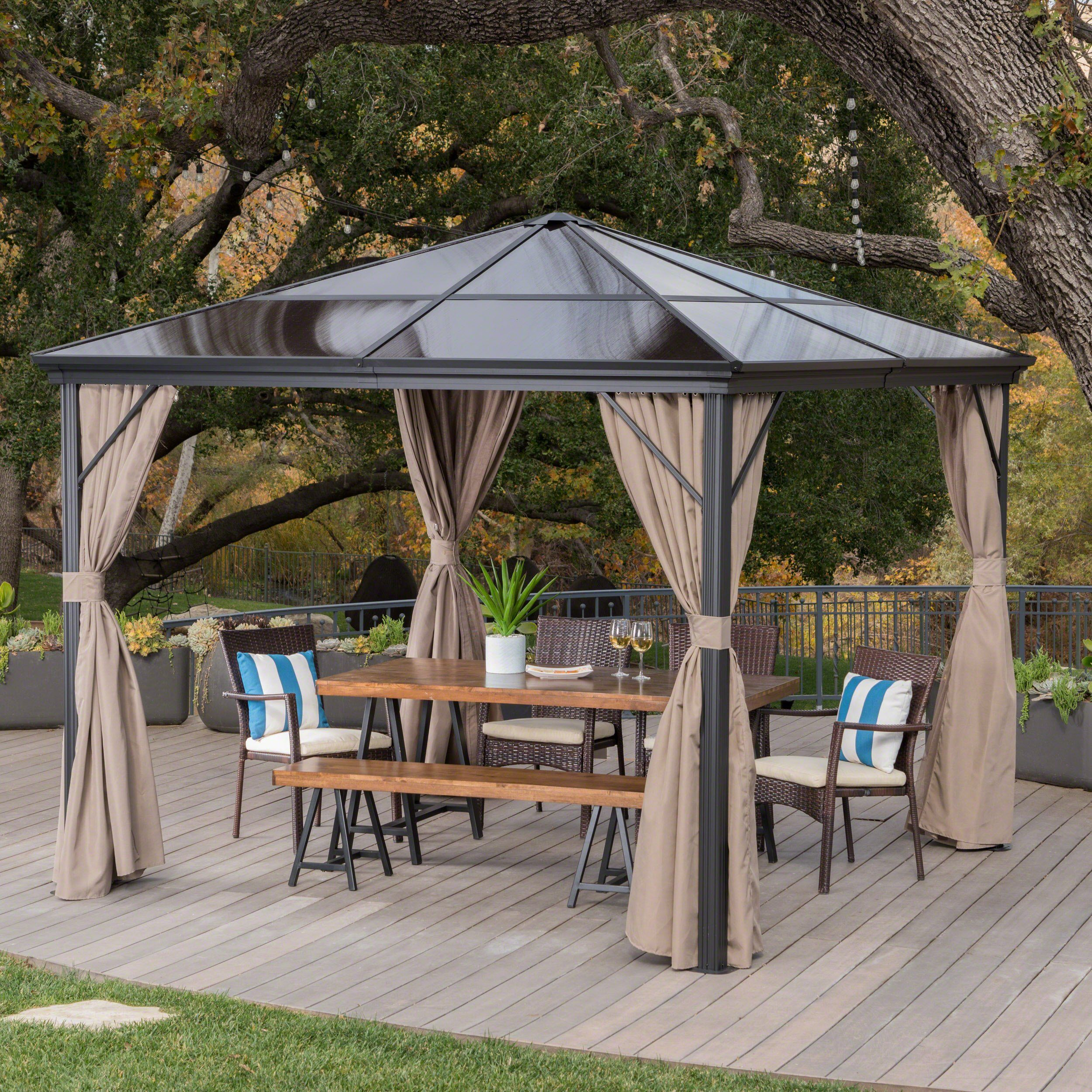 Bali Outdoor 10 X 10 Foot Rust Proof Aluminum Framed Hardtop Gazebo With Curtains Outdoor Pergola Hardtop Gazebo Pergola Plans