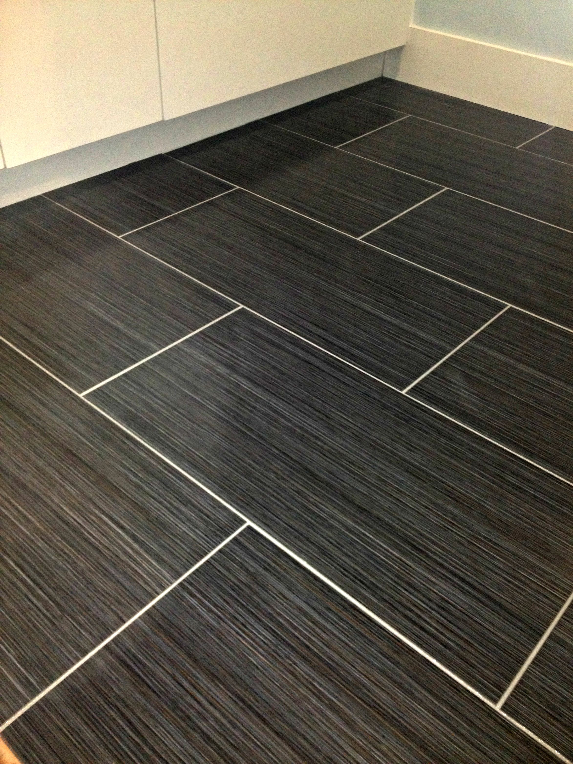 Floor With Dark Tile And Light Grout Our Work Tile Pinterest