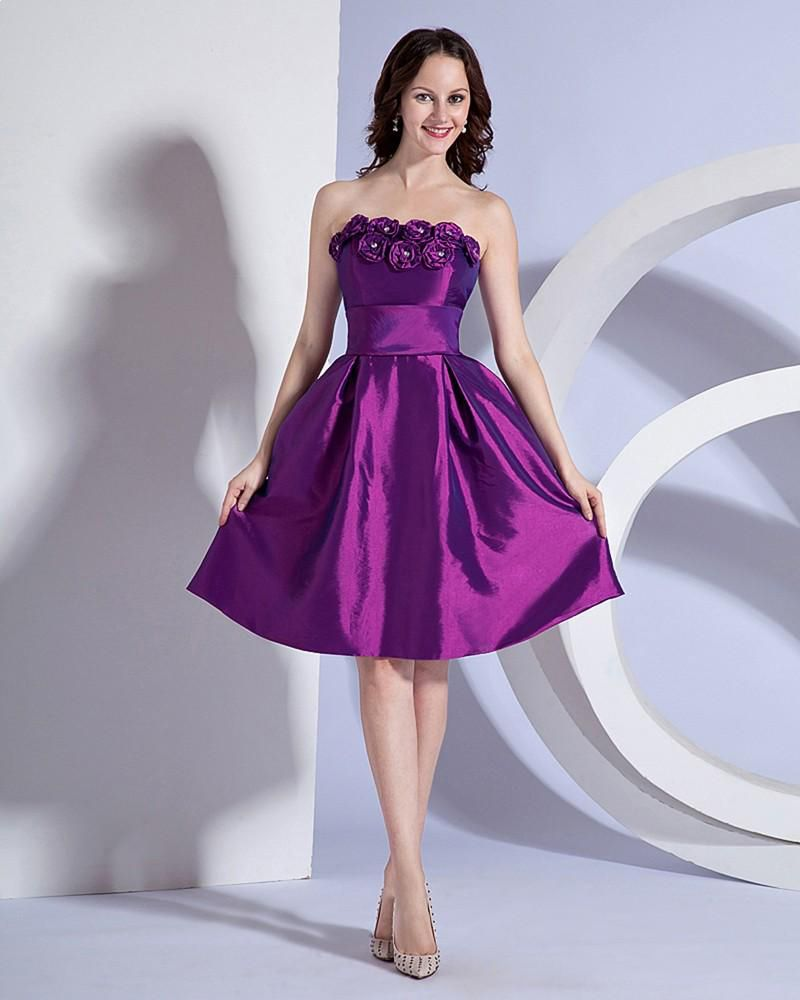 Strapless Knee Length Taffeta Bridesmaid Dress Read More: http://www ...