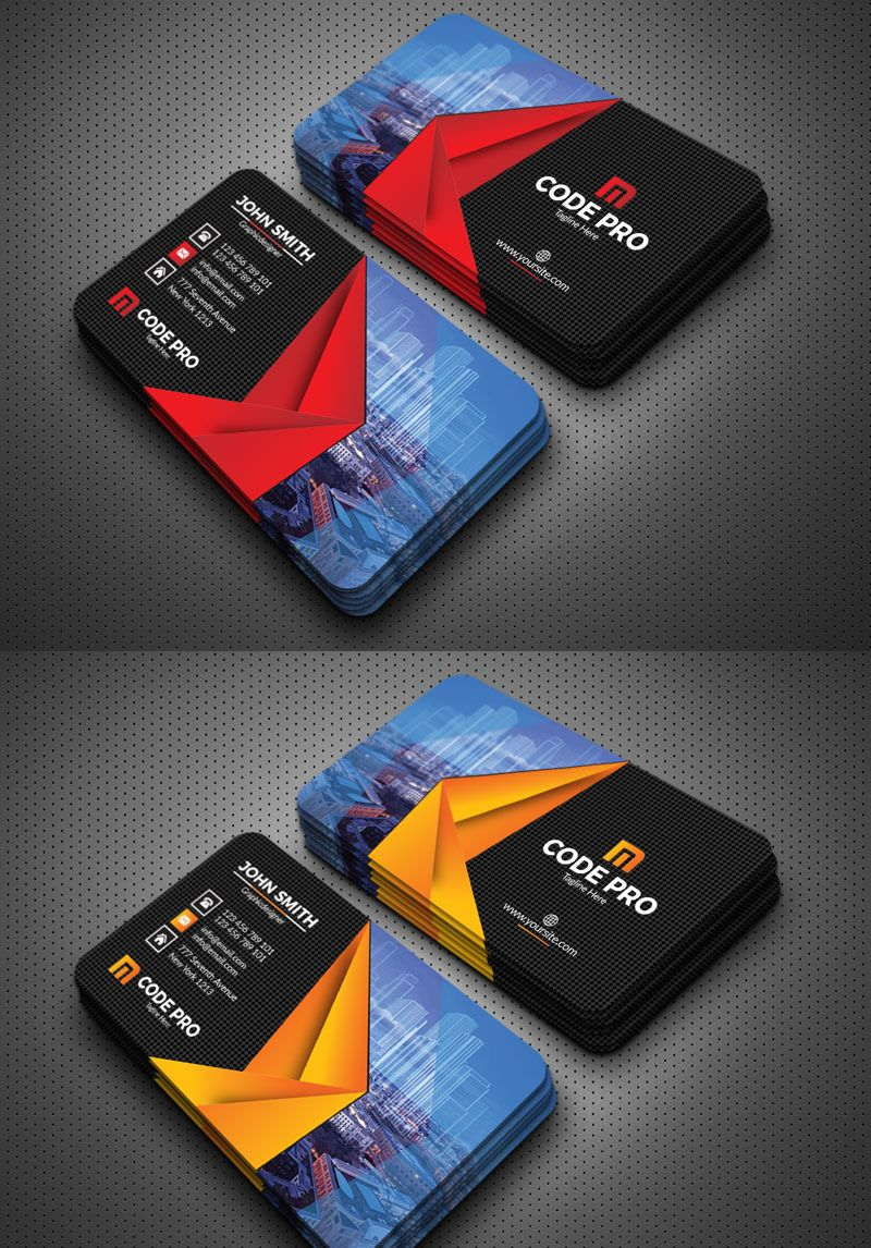 Building construction business cards corporate identity