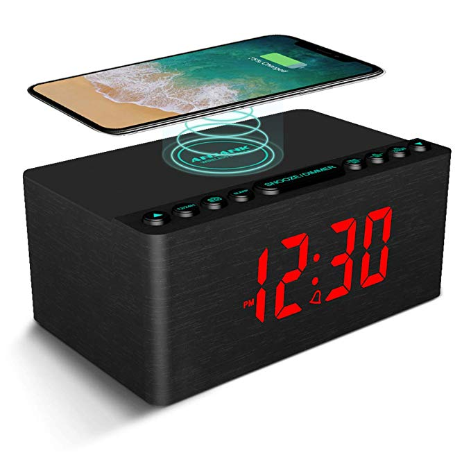 Anjank Wooden Alarm Clock With Fm Radio 10w Super Fast Wireless Charger Station For Iphone Samsung 5 Level Dimmer Usb In 2020 Wireless Charger Led Clock Sleep Timer