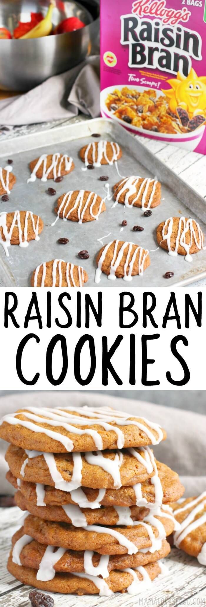 RAISIN BRAN COOKIES - Raisin Bran Cookies are easy to make and taste amazing!  Chewy and delicious, they'll be your family's new favorite cookie! #cookies #cookierecipe #raisinbran