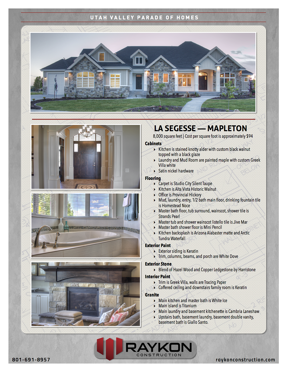 Raykon Construction Utah Home Builders Parade Of Homes Build Your Dream Home