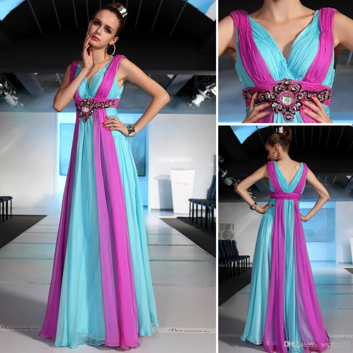 Honorable two color chiffon vneck capped sleeves floor length long