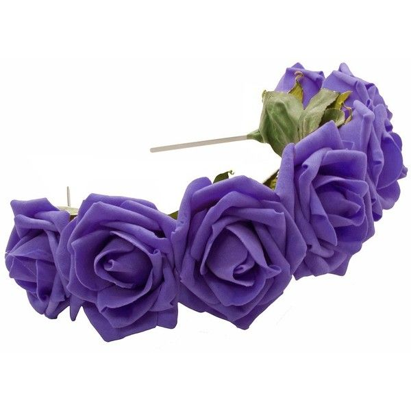LULU Rose Flower Crown Headband in Purple ($14) ❤ liked on Polyvore
