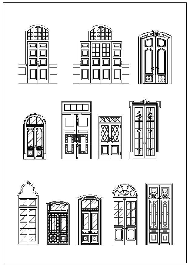 Door and window design architecture ornamental parts for Window design autocad