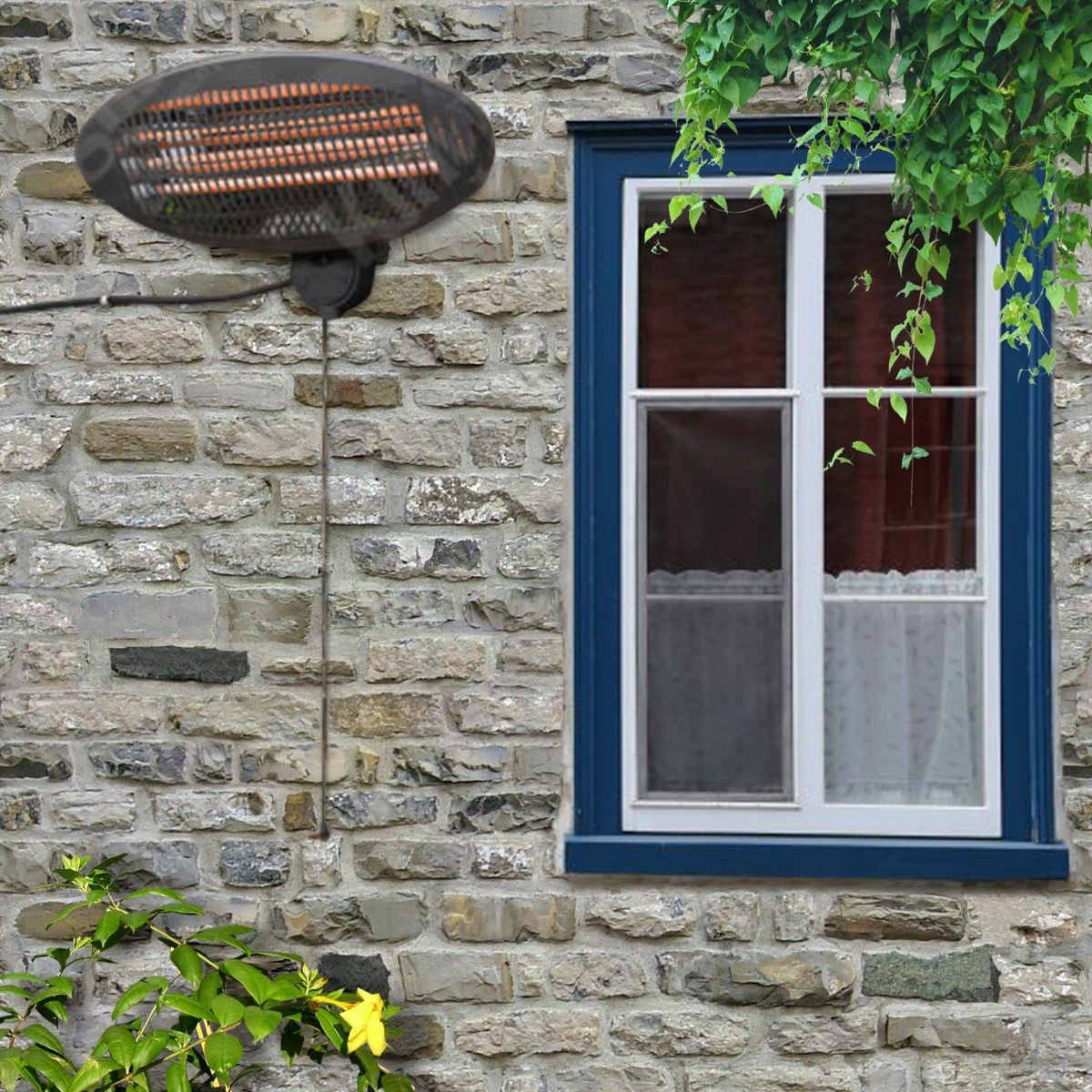 Costway Electric Patio Heater Wall Mounted Infra Outdoor Waterproof