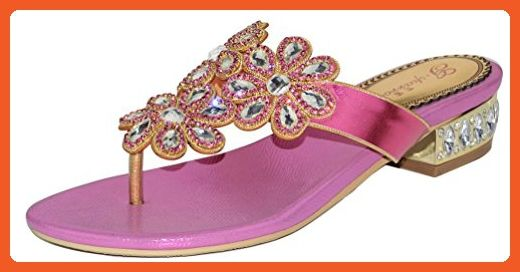 f9f6f3eb8e3d Abby Womens Fashion Wedding Party Show Work Rhinestone Flat Flip-Flop  Micro-fiber Sandals Pink 8.5 M US - Sandals for women ( Amazon Partner-Link)