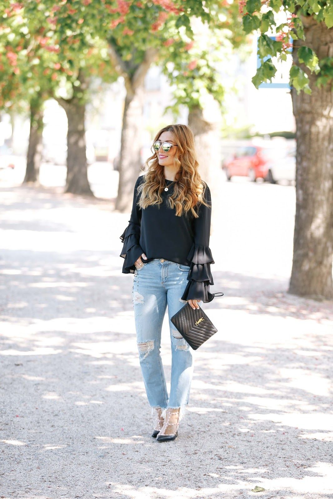 Top Neue Bluse in Volant-Ärmel   Fashionstylebyjohanna @YH_85