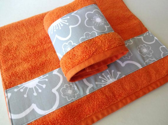 Orange And Grey Orange And Grey Bathroom Towels By AugustAve, $30.00