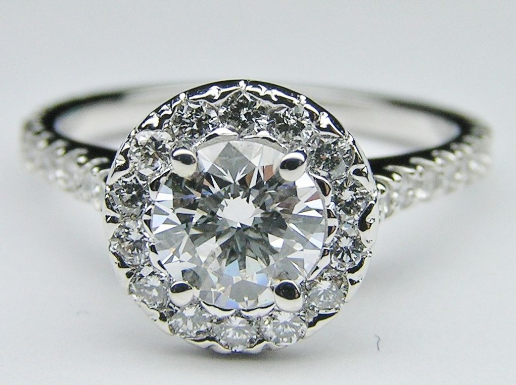 Round Diamond Halo Cathedral Engagement Ring in 14K White Gold