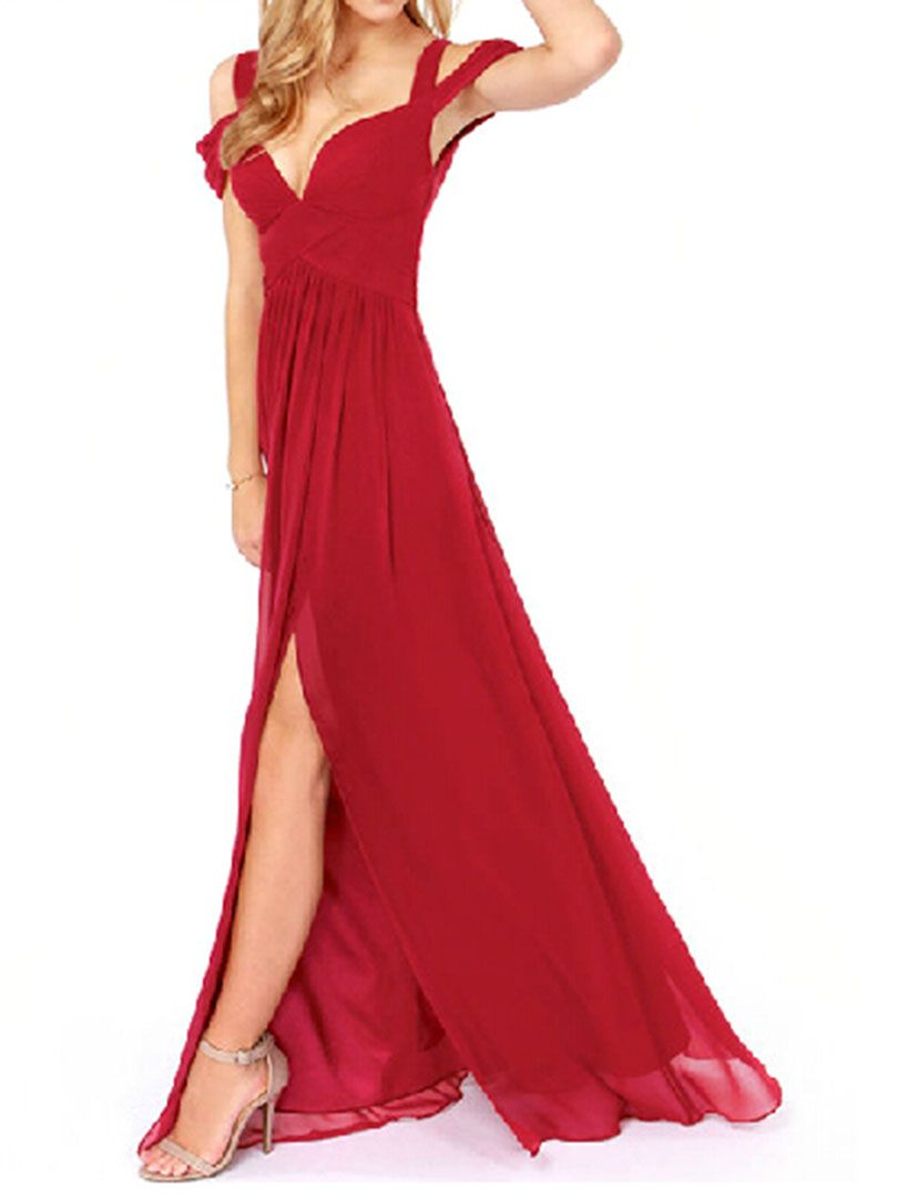 Red cold shoulder sweetheart ruched split maxi party dress dresses