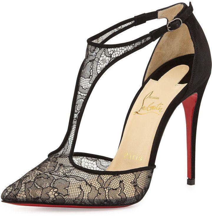 94246e9bd3b8a Christian Louboutin Salonu Chantilly Lace T-Strap Red Sole Pump, Black on  shopstyle.com