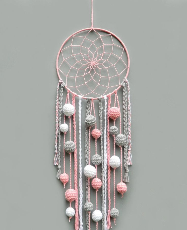 pink nursery dream catcher kids room decor wall hanging christmas gift for baby girl