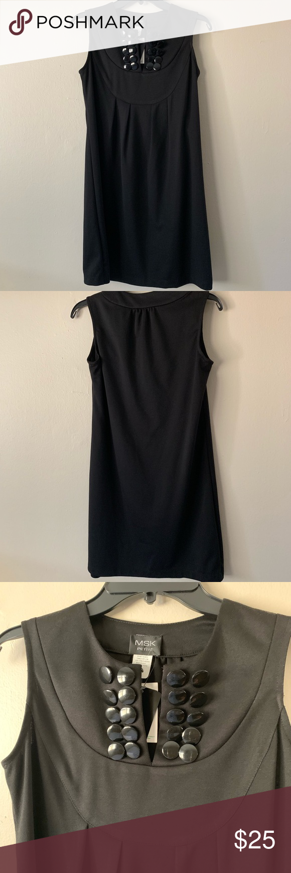 "MSK Petite Black Sleeveless Dress Clusters of black decorative buttons at front. One snap on closure at front. Baby doll style. Size 4P Approx measures armpit to armpit 17"" length from shoulder to hem 33 1/4"" MSK Dresses #blacksleevelessdress"